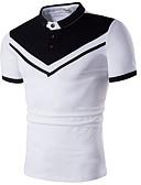 ราคาถูก เสื้อโปโลสำหรับผู้ชาย-สำหรับผู้ชาย Polo ฝ้าย ลายพิมพ์ คอเสื้อเชิ้ต ลายบล็อคสี ขาว / แขนสั้น / ฤดูร้อน