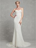 ราคาถูก Special Occasion Dresses-ทรัมเป็ต / เมอร์เมด คอสวีทฮาร์ท ชายกระโปรงชาเปิล ลูกไม้ / Tulle ชุดแต่งงานที่ทำขึ้นเพื่อวัด กับ ลูกไม้ โดย LAN TING BRIDE®