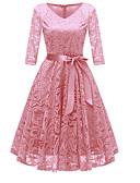 povoljno Obiteljski komplet odjeće-Žene Party Izlasci Vintage 1950-te A kroj Haljina - Čipka Mašna V izrez Do koljena Dusty Rose