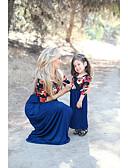 povoljno Obiteljski komplet odjeće-Mama i mene Osnovni Dnevno Cvjetni print Kratkih rukava Haljina Navy Plava