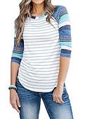 ราคาถูก เสื้อยืดสำหรับสุภาพสตรี-สำหรับผู้หญิง เสื้อเชิร์ต ลายแถบ สีน้ำเงิน / ลายวิจิตร