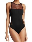 ราคาถูก ชุดว่ายน้ำแบบวันพีช-สำหรับผู้หญิง ชุดว่ายน้ำ สแปนเด็กซ์ Bodysuit ซึ่งยืดหยุ่น เสื้อไม่มีแขน การว่ายน้ำ สีพื้น ฤดูร้อน