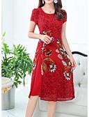 Χαμηλού Κόστους Μακριά Φορέματα-Γυναικεία Κινεζικό στυλ Σε γραμμή Α Φόρεμα Ως το Γόνατο