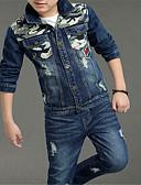 povoljno Kompletići za dječake-Djeca Dječaci Osnovni Jednobojni Dugih rukava Komplet odjeće Plava