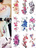 billige tatovering klistremerker-9 pcs Tatoveringsklistremerker midlertidige Tatoveringer Blomst Vannavvisende kropps~~POS=TRUNC Krop Tattoo-klistremerke
