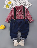povoljno Kompletići za dječake-Djeca Dječaci Vintage Aktivan Party Izlasci Karirani uzorak Dugih rukava Regularna Pamuk Komplet odjeće Djetelina