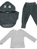 billige Skjorter til damer-Baby Gutt Grunnleggende Ensfarget Langermet Polyester Tøysett Grå