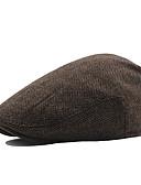 olcso Férfi kalapok, sapkák-Férfi Egyszínű Pamut Poliészter,Vintage Munkahelyi-Svájcisapka Ősz Tél Barna Fehér Fekete