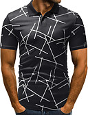 billige Hettegensere og gensere til herrer-Skjortekrage EU / USA størrelse Polo Herre - Geometrisk Grunnleggende Hvit / Kortermet