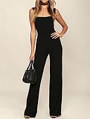 ราคาถูก จั๊มสูทและเสื้อคลุมสำหรับผู้หญิง-สำหรับผู้หญิง ทุกวัน / ไปเที่ยว สาย สีดำ ขากว้าง ชุด Jumpsuits Onesie, สีพื้น S M L เสื้อไม่มีแขน