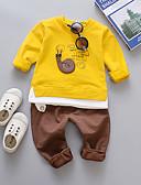 Χαμηλού Κόστους Μπλουζάκια για κορίτσια-Παιδιά Αγορίστικα Ενεργό Βασικό Καθημερινά Αργίες Στάμπα Στάμπα Μακρυμάνικο Κανονικό Βαμβάκι Σετ Ρούχων Κίτρινο