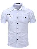 billige Skjorter-Skjorte Herre - Ensfarget Hvit / Kortermet