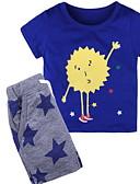 ราคาถูก ชุดเสื้อผ้าเด็กผู้ชาย-Toddler เด็กผู้ชาย พื้นฐาน สีพื้น แขนสั้น ชุดเสื้อผ้า สีเทา
