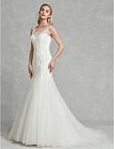 baratos Vestidos de Casamento-Tubinho Bateau Neck Cauda Corte Renda / Tule Vestidos de casamento feitos à medida com Miçangas / Apliques de LAN TING BRIDE®