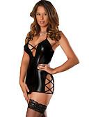 ราคาถูก ร่างกายเซ็กซี่-สำหรับผู้หญิง เปิดหลัง Sexy ชุด เสื้อนอน สีพื้น สีดำ M L XL / คอวีลึก