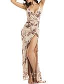 baratos Vestidos de Mulher-Mulheres Básico Delgado Bainha Vestido Floral Com Alças Longo