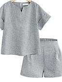 ราคาถูก เซตชุดทูพีซสำหรับผู้หญิง-สำหรับผู้หญิง พื้นฐาน ชุด - สีพื้น กางเกง