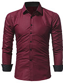 baratos Camisas Masculinas-Homens Camisa Social - Trabalho Negócio / Básico Estampado, Sólido / Listrado Preto / Manga Longa
