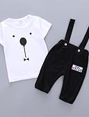 זול לבנים סטים של ביגוד לתינוקות-סט של בגדים צמר / כותנה שרוולים קצרים טלאים דפוס פעיל / בסיסי בנים תִינוֹק / פעוטות