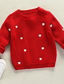 olcso Lány ruhák-Gyerekek Lány Alap Karácsony Egyszínű Karácsony Hosszú ujj Pulóver és kardigán Fehér