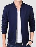 זול גברים-ג'קטים ומעילים-בגדי ריקוד גברים אימון רגיל ג'קט, אחיד עומד שרוול ארוך פוליאסטר שחור / כחול נייבי / יין
