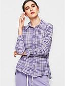 billige Skjorter til damer-Bomull Skjortekrage Skjorte Dame - Stripet Grunnleggende Lilla / Sommer