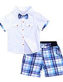 ราคาถูก เสื้อผ้าเซ็ตเด็กเล็กผู้ชาย-เด็ก เด็กผู้ชาย วินเทจ ซึ่งทำงานอยู่ ทุกวัน โรงเรียน Tiger ลายต่อ รู แขนสั้น ปกติ ปกติ ฝ้าย ชุดเสื้อผ้า ขาว