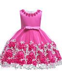זול שמלות לבנות-שמלה עד הברך ללא שרוולים תחרה אחיד Party / חגים וינטאג' / בסיסי בנות ילדים / פעוטות / כותנה