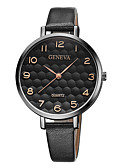 ราคาถูก นาฬิกาควอตซ์-Geneva สำหรับผู้หญิง นาฬิกาข้อมือ นาฬิกาอิเล็กทรอนิกส์ (Quartz) หนัง ดำ / น้ำตาล ดีไซน์มาใหม่ นาฬิกาใส่ลำลอง เท่ห์ ระบบอนาล็อก ไม่เป็นทางการ แฟชั่น - Black / Silver White / สีเบจ Black / Rose Gold