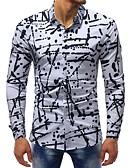 ราคาถูก เสื้อโปโลสำหรับผู้ชาย-สำหรับผู้ชาย เชิร์ต พื้นฐาน ฝ้าย ลายพิมพ์ เพรียวบาง ลายจุด / ลายบล็อคสี ขาว / แขนยาว