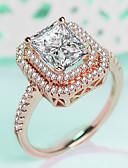 ราคาถูก เดรสพลัสไซซ์-สำหรับผู้หญิง แหวน แหวนมั่น 1pc สีเงิน Rose Gold ทองเหลือง Platinum Plated เคลือบทองคำสีกุหลาบ สี่แฉก สุภาพสตรี ความหรูหรา คลาสสิก งานแต่งงาน ของขวัญ เครื่องประดับ สไตล์ Hollow HALO ล้ำค่า จินตนาการ