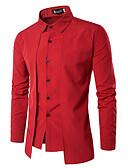 ราคาถูก เสื้อเชิ้ตผู้ชาย-สำหรับผู้ชาย เชิร์ต ธุรกิจ / วินเทจ ทำงาน สีพื้น สีดำ / แขนยาว