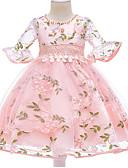 povoljno Haljine za djevojčice-Djeca Djevojčice Osnovni Dnevno Cvjetni print Rukava do lakta Haljina Blushing Pink