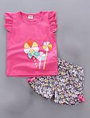 Χαμηλού Κόστους Σετ ρούχων για κορίτσια-Νήπιο Κοριτσίστικα Βασικό Μονόχρωμο Αμάνικο Σετ Ρούχων Ανθισμένο Ροζ