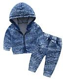 povoljno Kompletići za Za dječake bebe-Dijete Dječaci Osnovni Dnevno Jednobojni Dugih rukava Regularna Pamuk Komplet odjeće Plava / Dijete koje je tek prohodalo