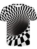 billiga Slipsar och flugor-Tryck, 3D Nattklubb T-shirt - Grundläggande / Streetchic Herr Rund hals Svartvitt Vit / Kortärmad / Sommar