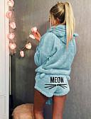 baratos Pijamas-Mulheres Com Capuz / Gola Alta Conjunto Pijamas Sólido / Letra