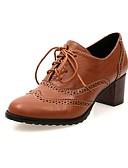 ราคาถูก เสื้อฮู้ดและเสื้อกันหนาวสเว็ตเชิ้ตผู้หญิง-สำหรับผู้หญิง รองเท้า Oxfords รองเท้าผ้าใบสไตล์อังกฤษ ส้นหนา ปลายกลม PU โบว์ ฤดูใบไม้ผลิ & ฤดูใบไม้ร่วง สีดำ / ผ้าขนสัตว์สีธรรมชาติ / สีน้ำตาล / ทุกวัน