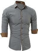 baratos Camisas Masculinas-Homens Camisa Social - Trabalho Negócio Sólido Algodão Delgado Branco / Manga Longa