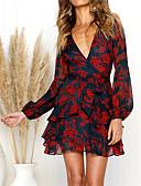 זול שמלות מודפסות-V עמוק מיני דפוס גלישה, פרחוני - שמלה שיפון חגים ליציאה בגדי ריקוד נשים
