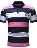 baratos Pólos Masculinas-Homens Polo Básico Estampado, Listrado / Estampa Colorida Algodão Colarinho de Camisa Azul / Manga Curta / Verão