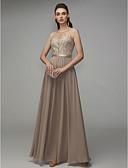billige Aftenkjoler-A-linje Besmykket Gulvlang Chiffon Elegant / Beaded & Sequin Formell kveld Kjole 2020 med Perlearbeid