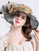 ราคาถูก หมวกสตรี-สำหรับผู้หญิง Kentucky Derby สีพื้น ลายดอกไม้ ชิฟฟอน ลูกไม้ ระบาย ตารางไขว้,วินเทจ วันหยุด-หมวกบัคเก็ต หมวกปีกกว้าง ดวงอาทิตย์หมวก ทุกฤดู ส้ม สีม่วง ไวน์