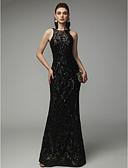Χαμηλού Κόστους Φορέματα για παρανυφάκια-Ίσια Γραμμή Με Κόσμημα Μακρύ Με πούλιες Κομψό & Πολυτελές / Ανοικτή Πλάτη / Beaded & Sequin Επίσημο Βραδινό / Μαύρο γκαλά Φόρεμα 2020 με Πούλιες