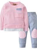 povoljno Kompletići za bebe-Dijete Djevojčice Ležerne prilike Dnevno Jednobojni Kolaž Dugih rukava Regularna Pamuk Komplet odjeće Blushing Pink / Dijete koje je tek prohodalo