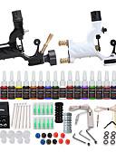 Χαμηλού Κόστους Ψηφιακά Ρολόγια-Μηχανή τατουάζ Βασικό Σετ - 2 pcs Μηχανήματα τατουάζ με 20 x 5 ml μελάνια τατουάζ, Επαγγελματικό, Ασφάλεια, 20 χρώματα Κράμα Τροφοδοσία LCD No case 2 x