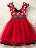 baratos Vestidos para Bebês-bebê Para Meninas Vintage Para Noite / Aniversário Poá Sem Manga Padrão Acima do Joelho Algodão Vestido Vermelho / Bébé