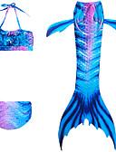 זול בגדי ים לבנות-בגדי ים כותנה ללא שרוולים קולור בלוק זנב של בתולת ים / בת הים הקטנה ספורט פעיל בנות ילדים