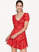 Χαμηλού Κόστους Επαγγελματικά Φορέματα-Γυναικεία Εξόδου Λεπτό Θήκη Φόρεμα Πάνω από το Γόνατο Λαιμόκοψη V