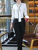 billige Skjorter til damer-Tynn V-hals Store størrelser Skjorte Dame - Ensfarget Grunnleggende Arbeid Hvit / Sommer